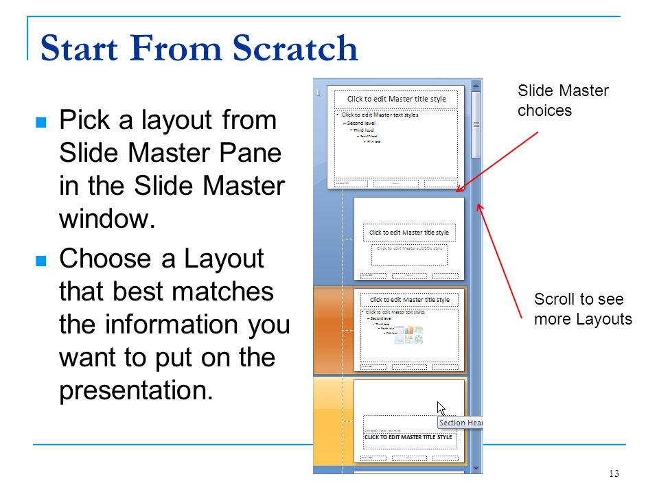 Start From Scratch Slide Master choices. Pick a layout from Slide Master Pane in the Slide Master window.