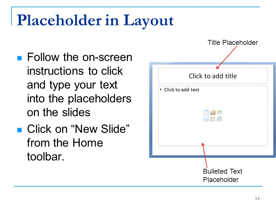 Placeholder in Layout Title Placeholder. Follow the on-screen instructions to click and type your text into the placeholders on the slides.