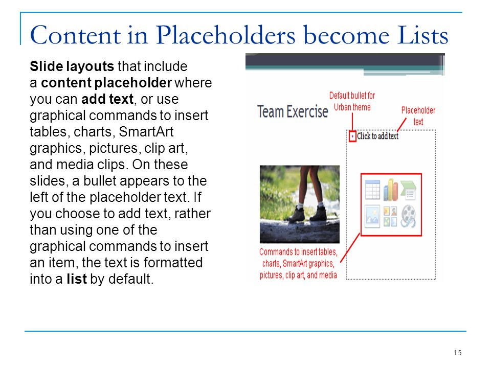 Content in Placeholders become Lists