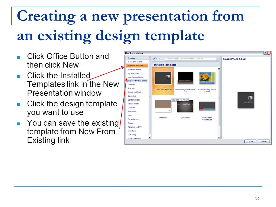 Creating a new presentation from an existing design template