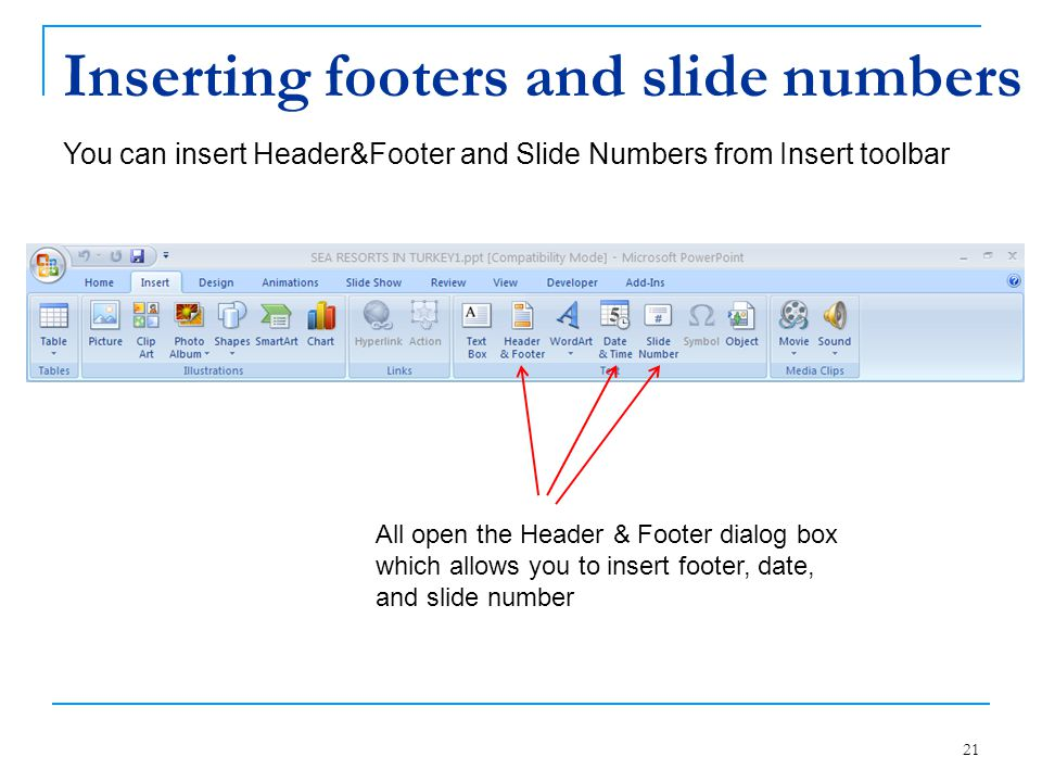 Inserting footers and slide numbers