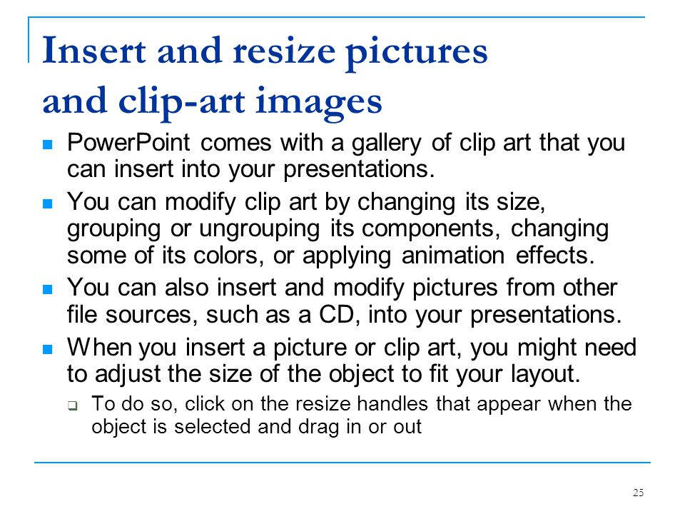 Insert and resize pictures and clip-art images