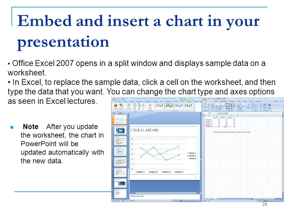 Embed and insert a chart in your presentation
