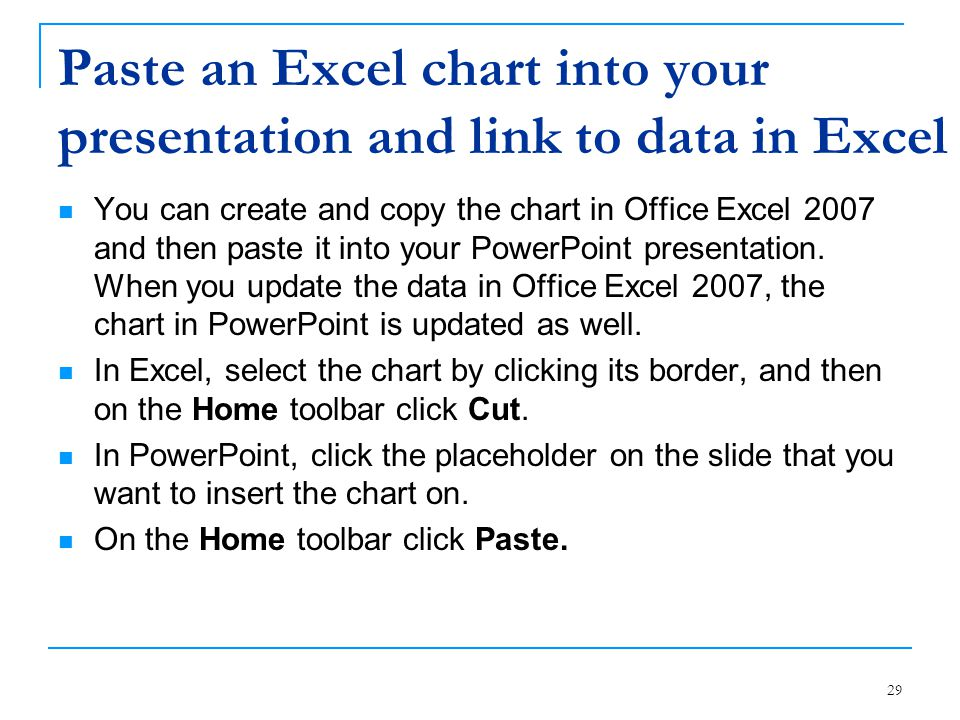 Paste an Excel chart into your presentation and link to data in Excel