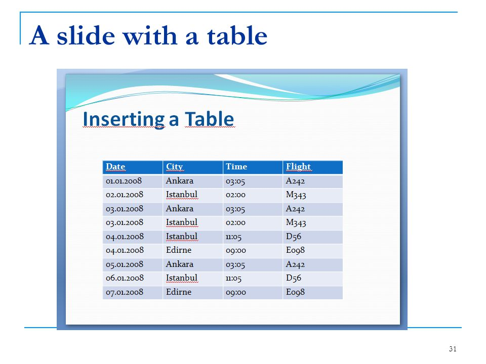 A slide with a table