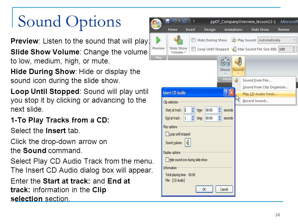 Sound Options Preview: Listen to the sound that will play.