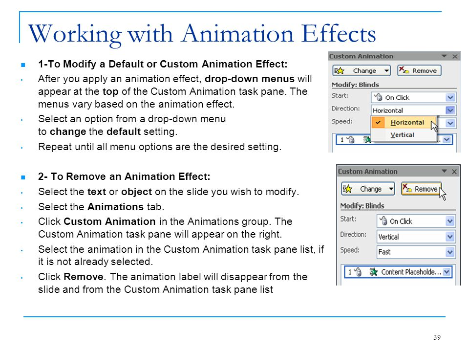 Working with Animation Effects