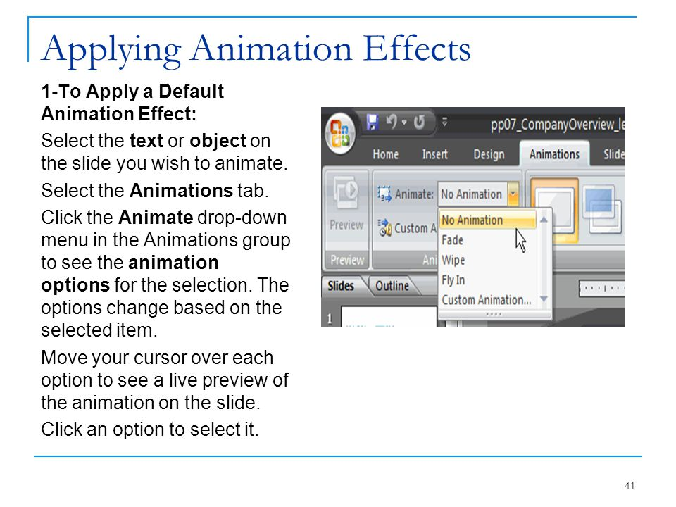 Applying Animation Effects