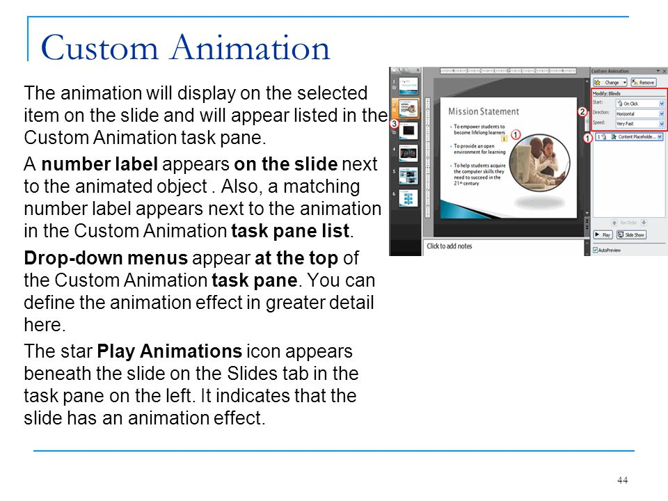 Custom Animation The animation will display on the selected item on the slide and will appear listed in the Custom Animation task pane.