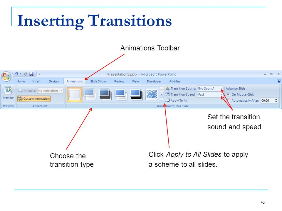 Inserting Transitions