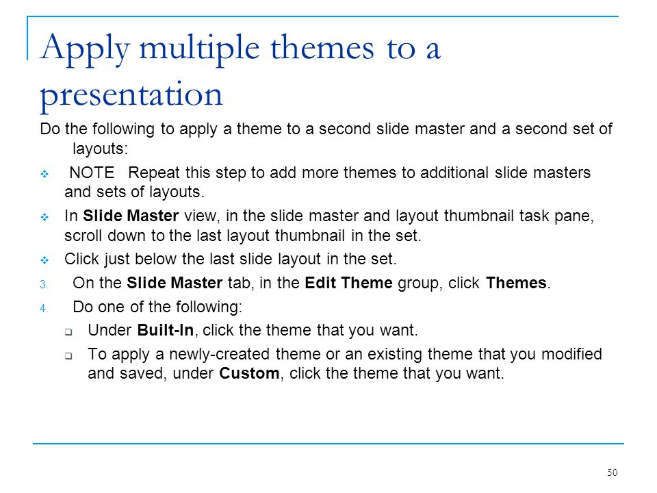 Apply multiple themes to a presentation