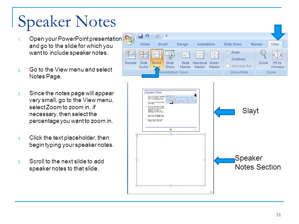 Speaker Notes Slayt Speaker Notes Section