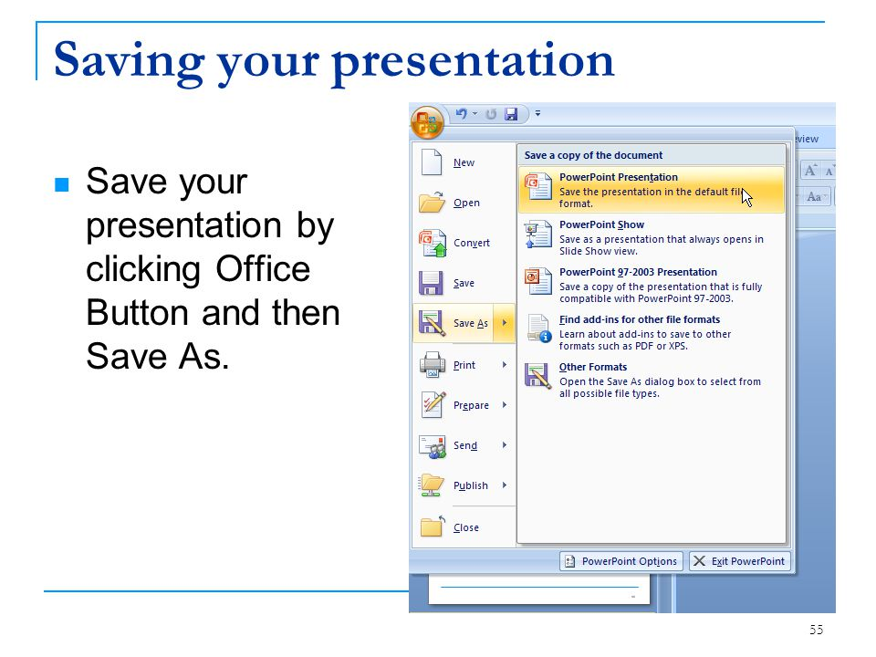 Saving your presentation