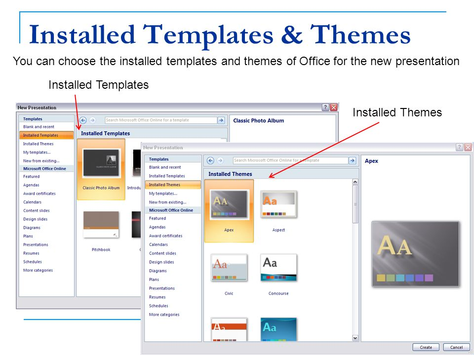 Installed Templates & Themes