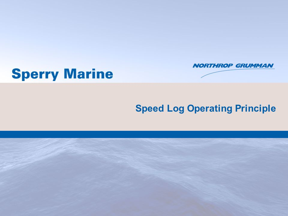 Speed Log Operating Principle