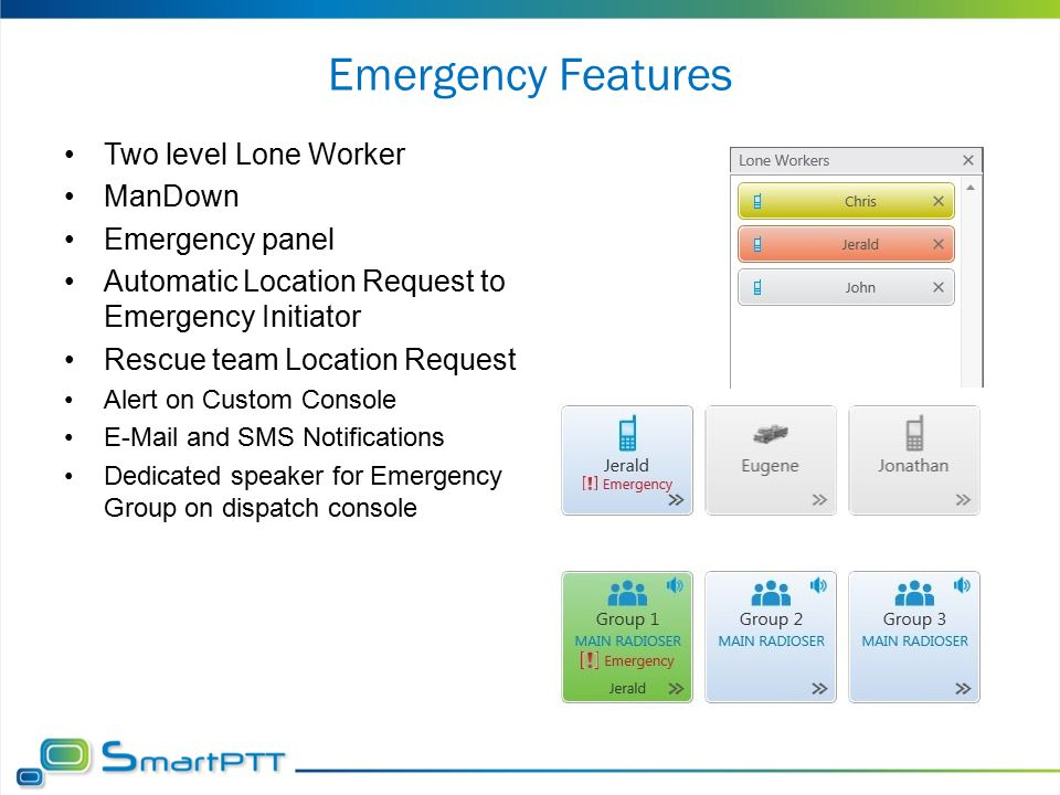 Emergency Features Two level Lone Worker ManDown Emergency panel