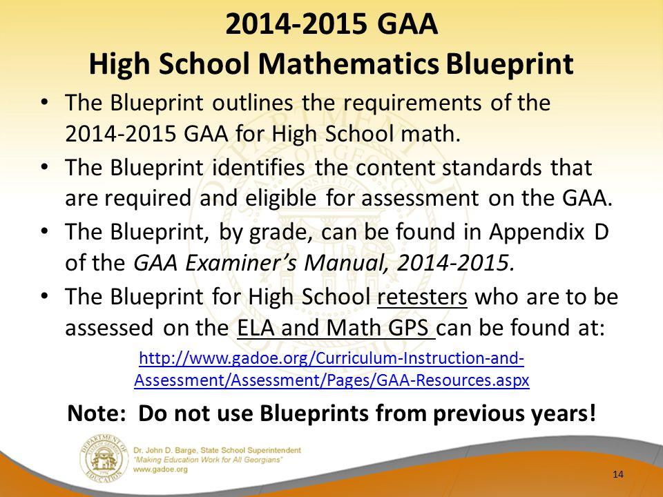 2014-2015 GAA High School Mathematics Blueprint