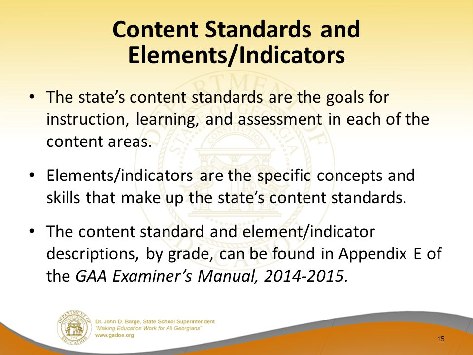 Content Standards and Elements/Indicators