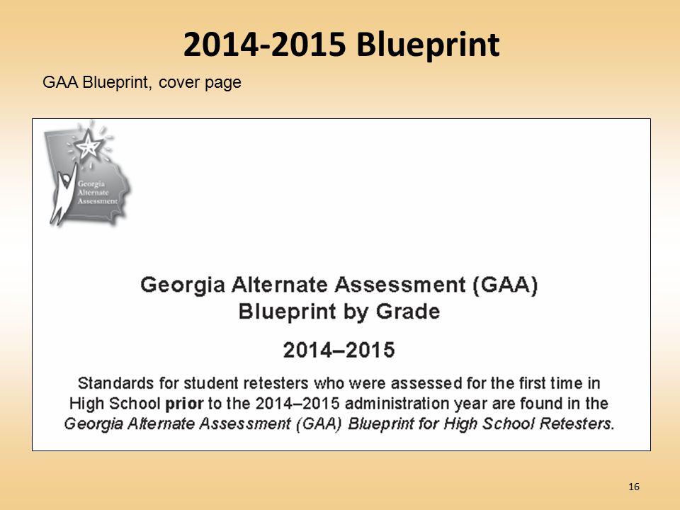2014-2015 Blueprint GAA Blueprint, cover page