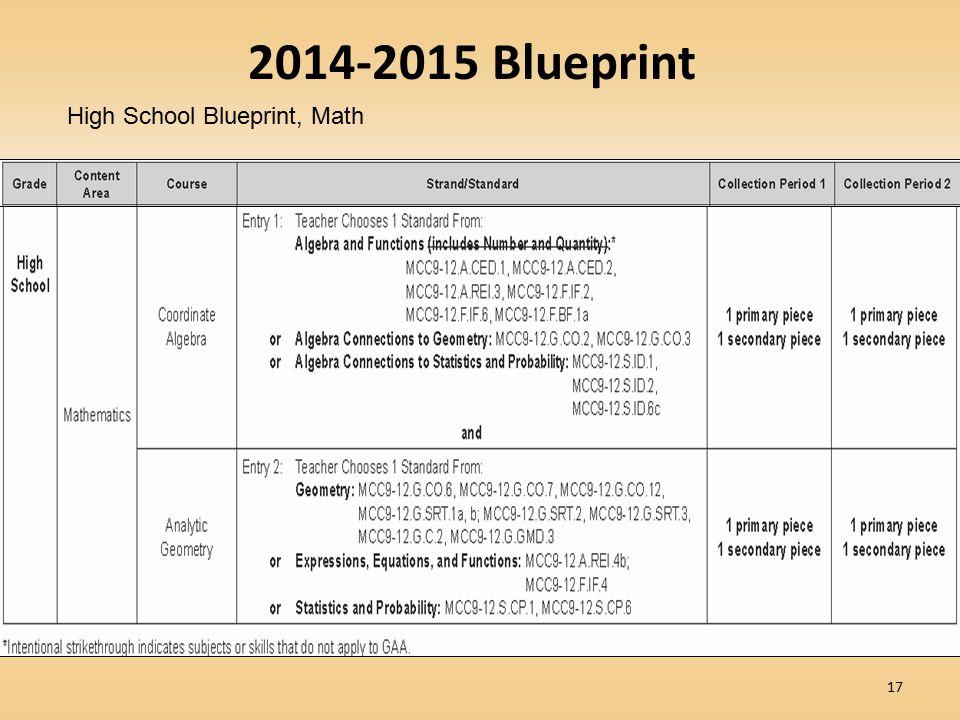 2014-2015 Blueprint High School Blueprint, Math
