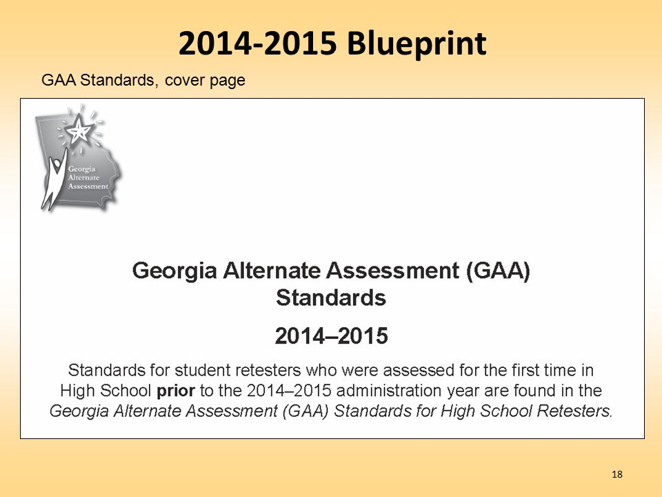 2014-2015 Blueprint GAA Standards, cover page