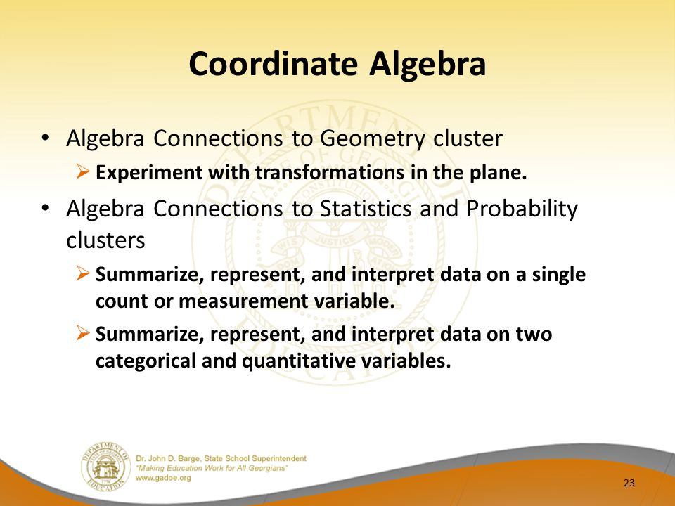 Coordinate Algebra Algebra Connections to Geometry cluster