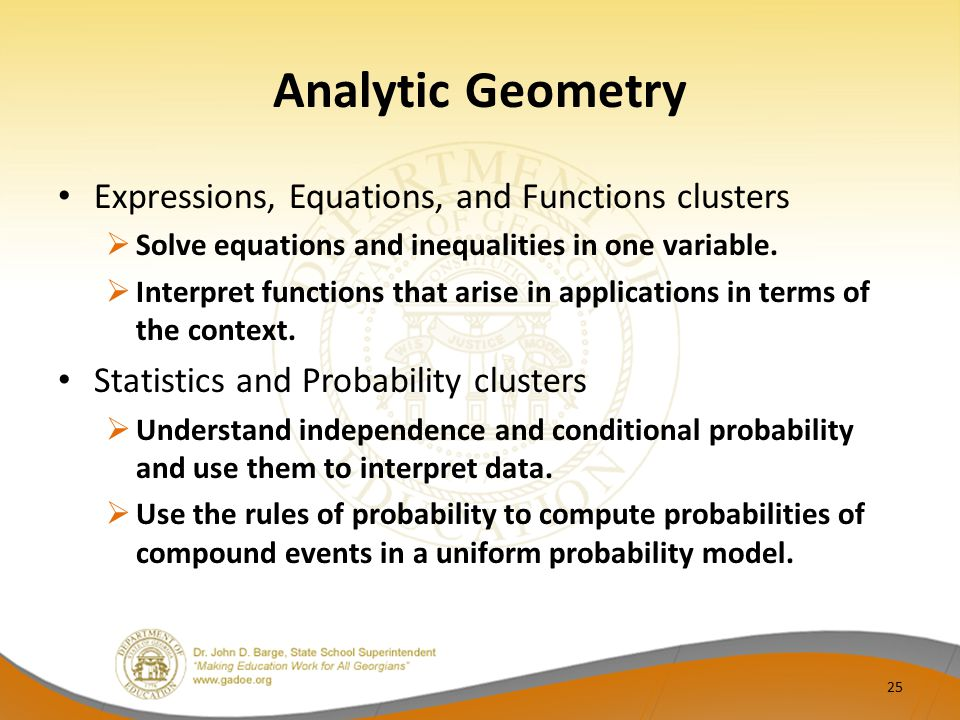 Analytic Geometry Expressions, Equations, and Functions clusters