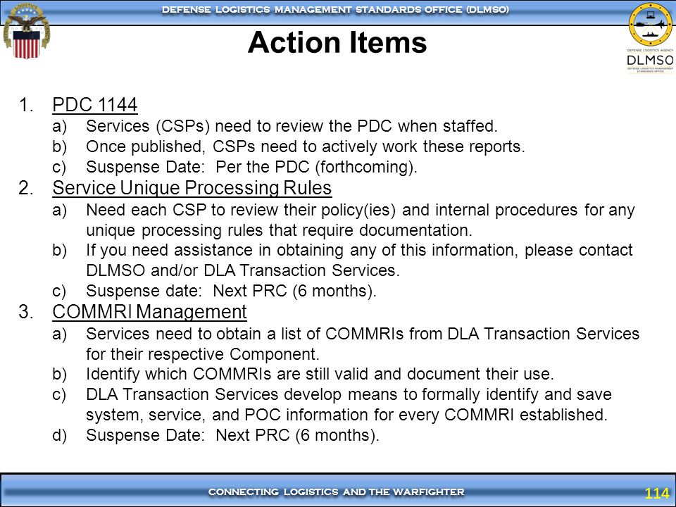 Action Items PDC 1144 Service Unique Processing Rules