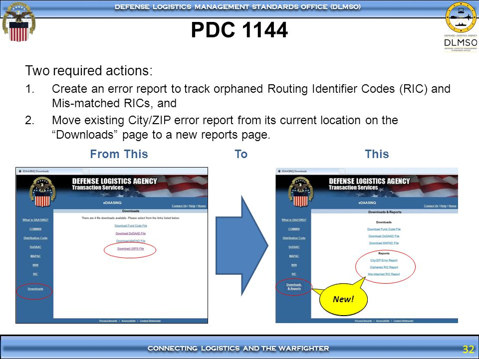 PDC 1144 Two required actions: