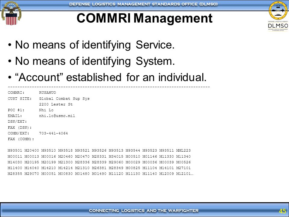 COMMRI Management No means of identifying Service.