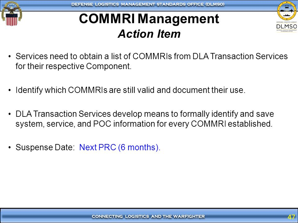 COMMRI Management Action Item