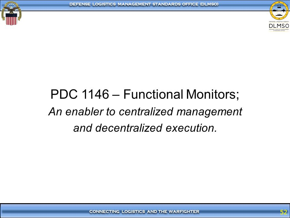 PDC 1146 – Functional Monitors;