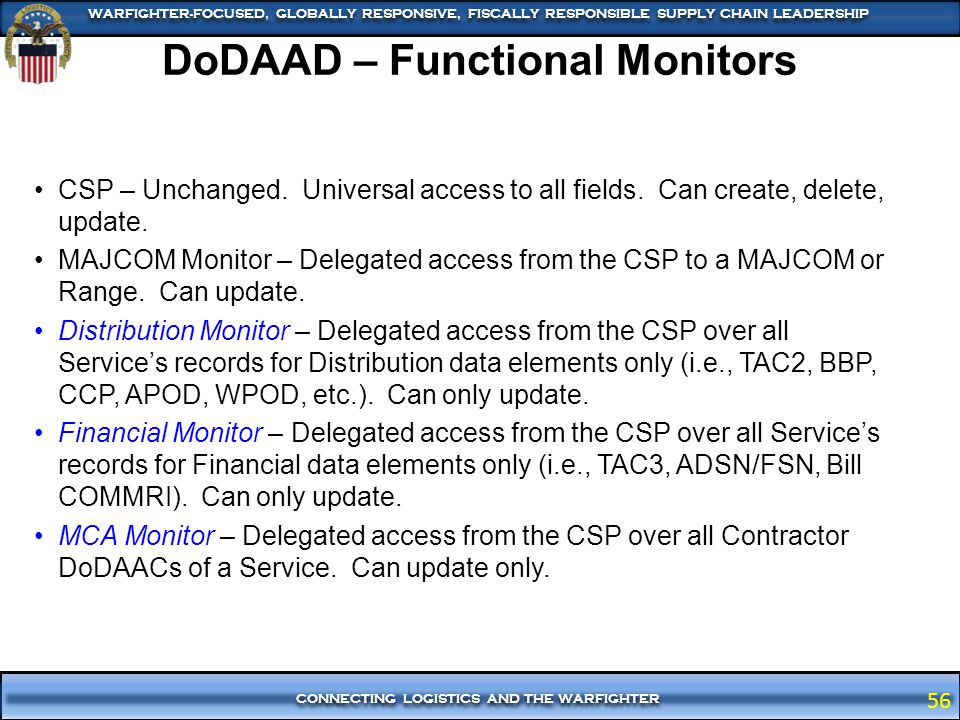 DoDAAD – Functional Monitors