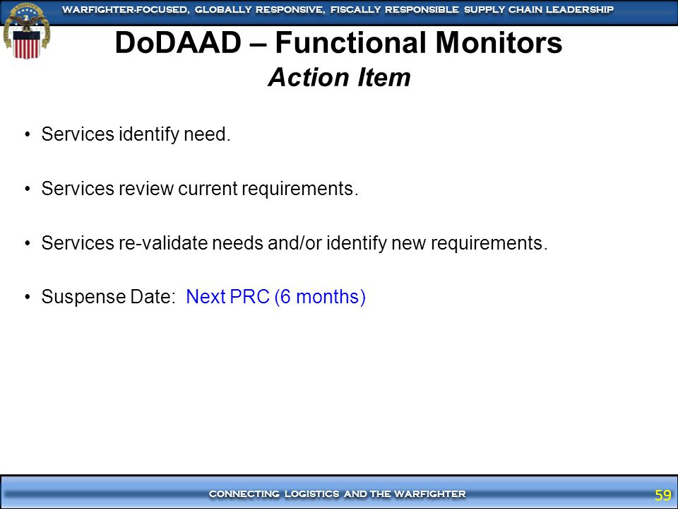 DoDAAD – Functional Monitors Action Item