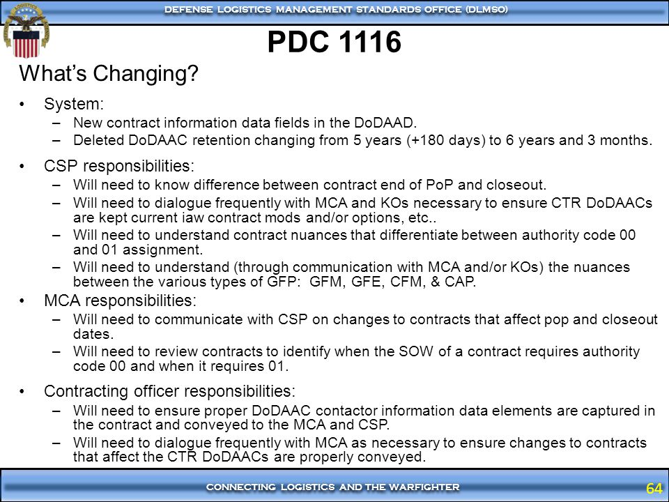 PDC 1116 What's Changing System: CSP responsibilities:
