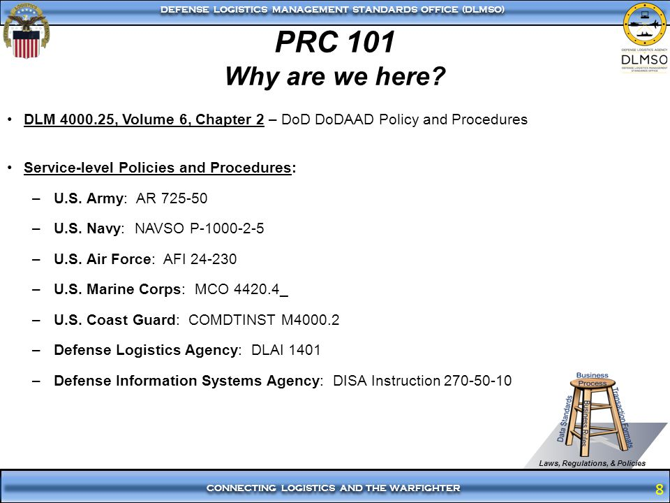 PRC 101 Why are we here DLM 4000.25, Volume 6, Chapter 2 – DoD DoDAAD Policy and Procedures. Service-level Policies and Procedures: