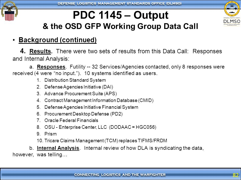 PDC 1145 – Output & the OSD GFP Working Group Data Call