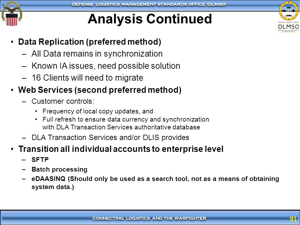 Analysis Continued Data Replication (preferred method)