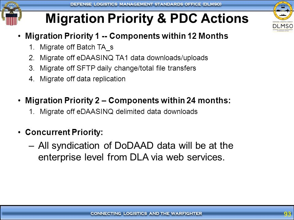 Migration Priority & PDC Actions