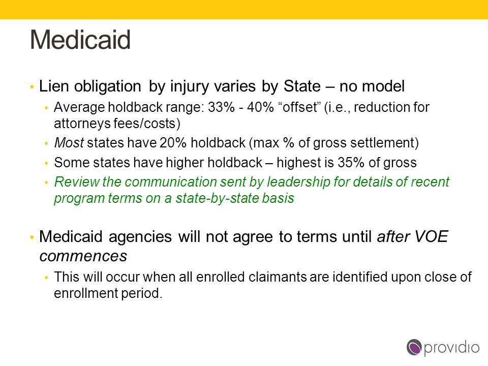 Medicaid Lien obligation by injury varies by State – no model