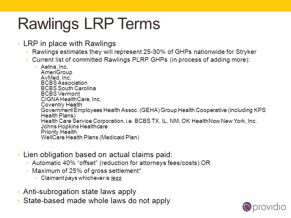 Rawlings LRP Terms LRP in place with Rawlings