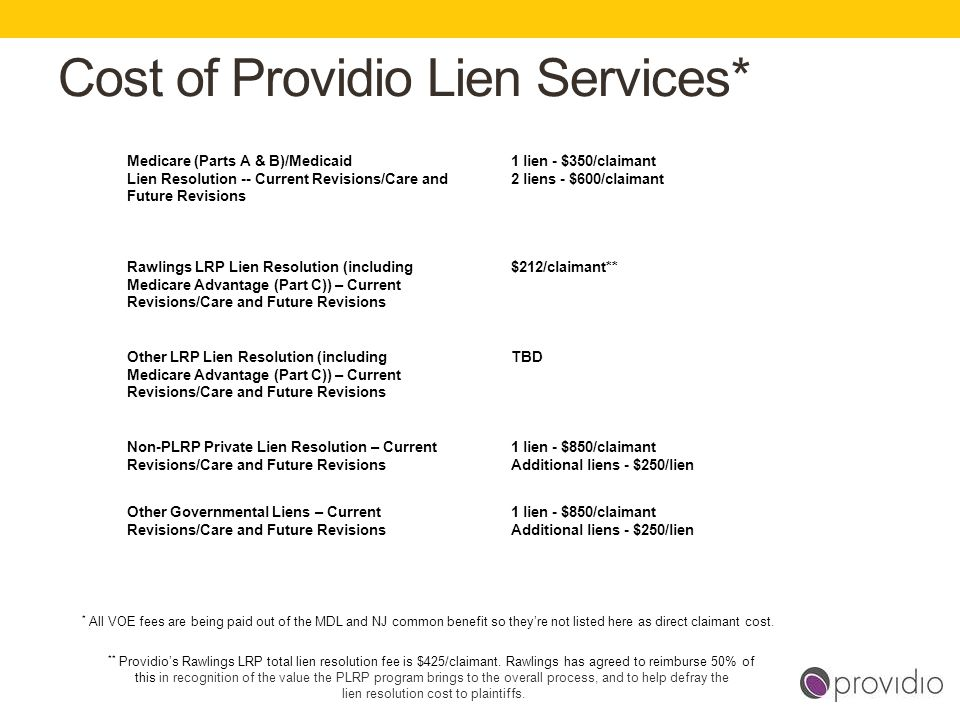 Cost of Providio Lien Services*