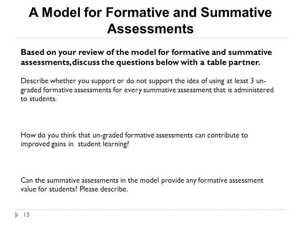A Model for Formative and Summative Assessments