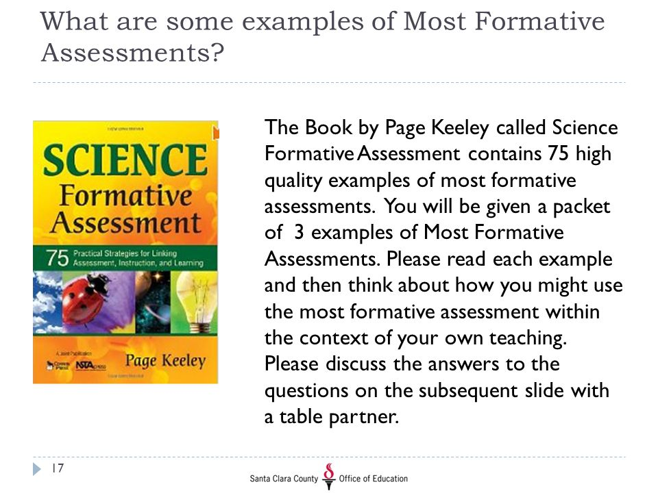 What are some examples of Most Formative Assessments