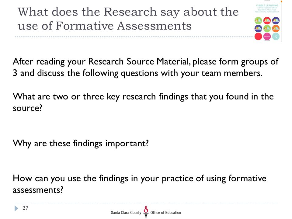 What does the Research say about the use of Formative Assessments