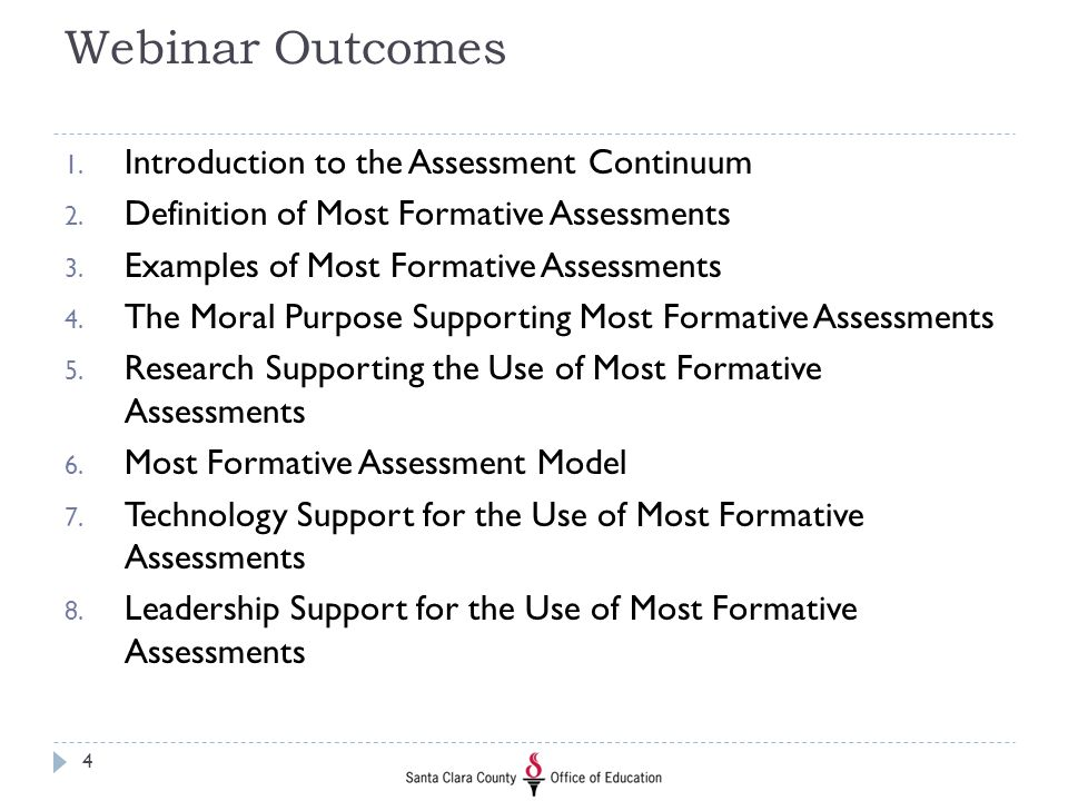 Webinar Outcomes Introduction to the Assessment Continuum