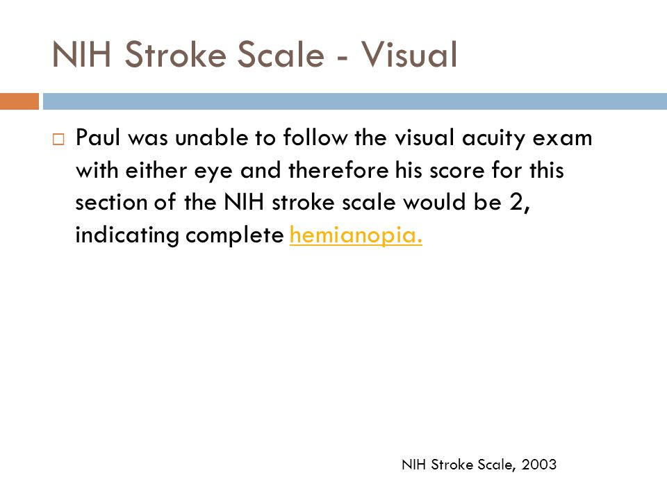 NIH Stroke Scale - Visual