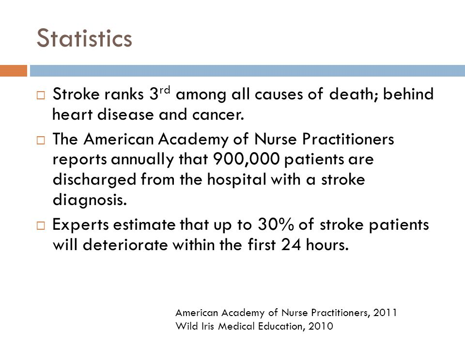 Statistics Stroke ranks 3rd among all causes of death; behind heart disease and cancer.