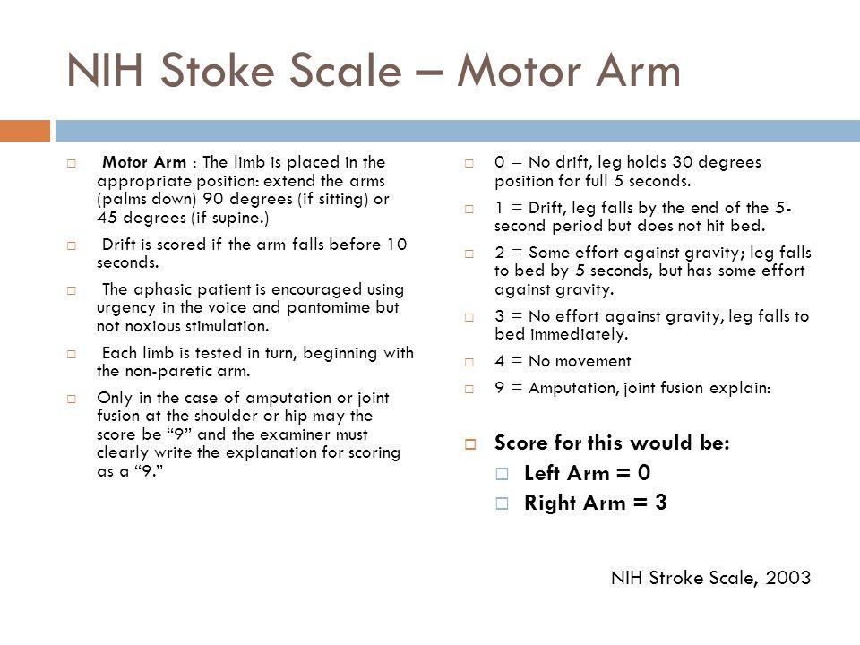 NIH Stoke Scale – Motor Arm