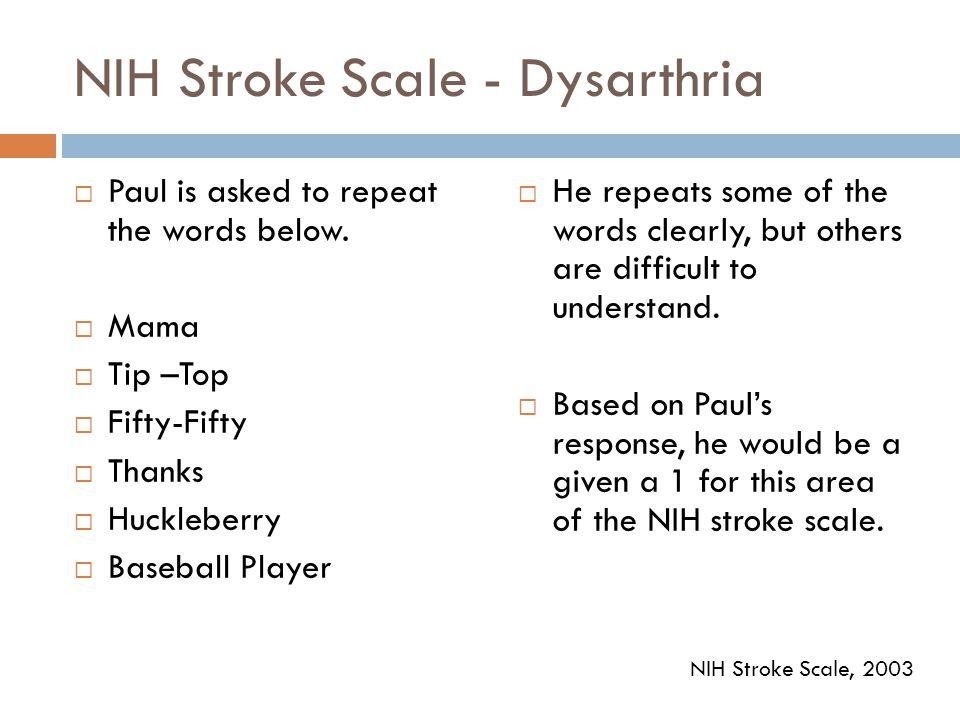 NIH Stroke Scale - Dysarthria